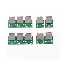 10 sztuk/partia hurtownie typ A kobieta USB do DIP 2.54MM PCB Board Adapter konwerter moduł dla Arduino