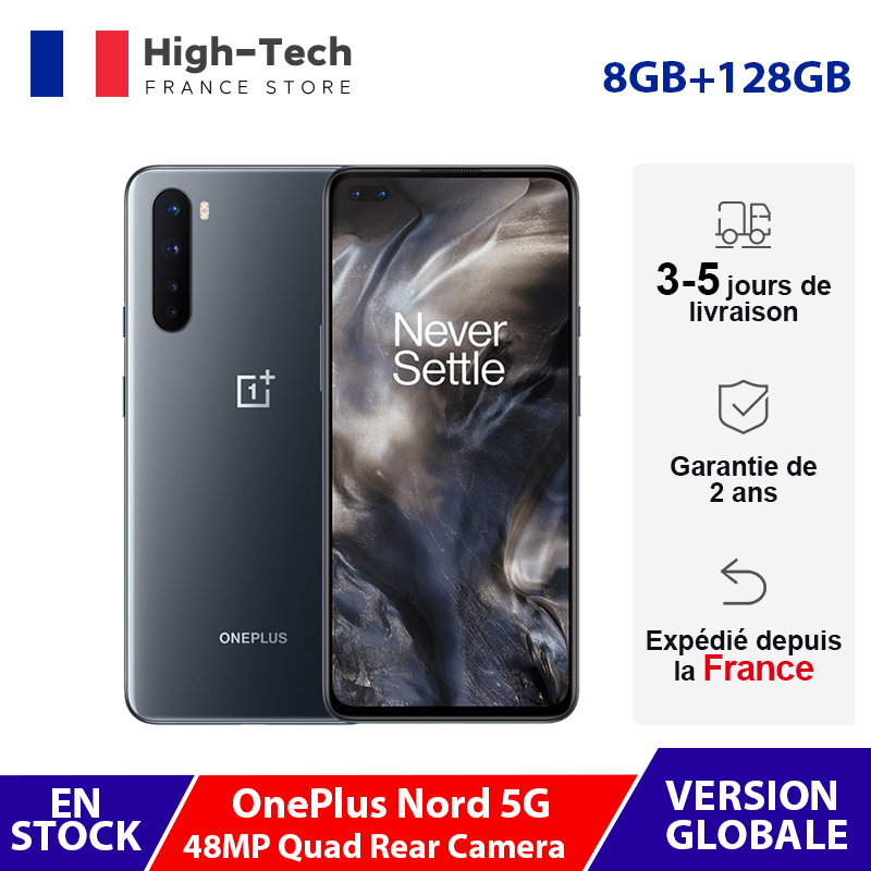 Global Version OnePlus Nord 5G 8GB RAM Smartphone 6.44'' 90Hz AMOLED Display 48MP Quad Camera Snapdragon 765G Mobile Phone