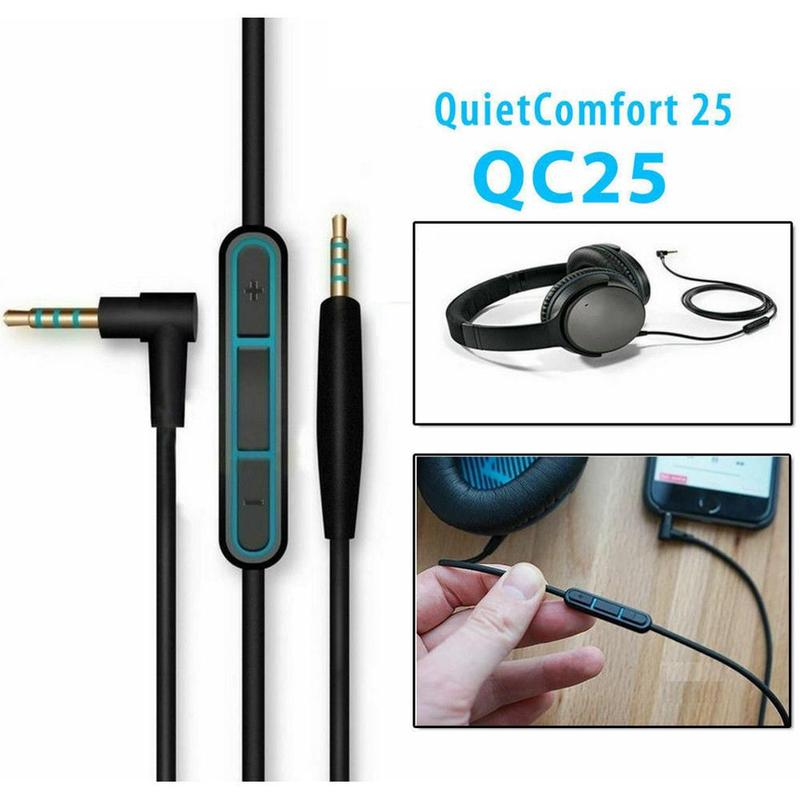 Replacement Audio Cable Wire Cord w/Mic For BOSE QuietComfort 25 QC25 Headphones image