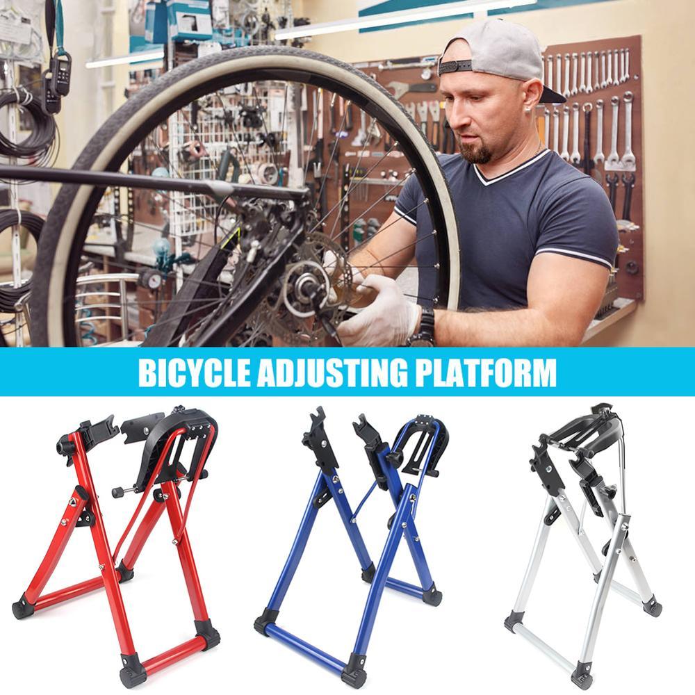 자전거 바퀴 Truing 스탠드 홈 정비공 Truing 스탠드 유지 보수 MTB 자전거 수리 도구 지원 24-28 인치 휠 타이어 타이어