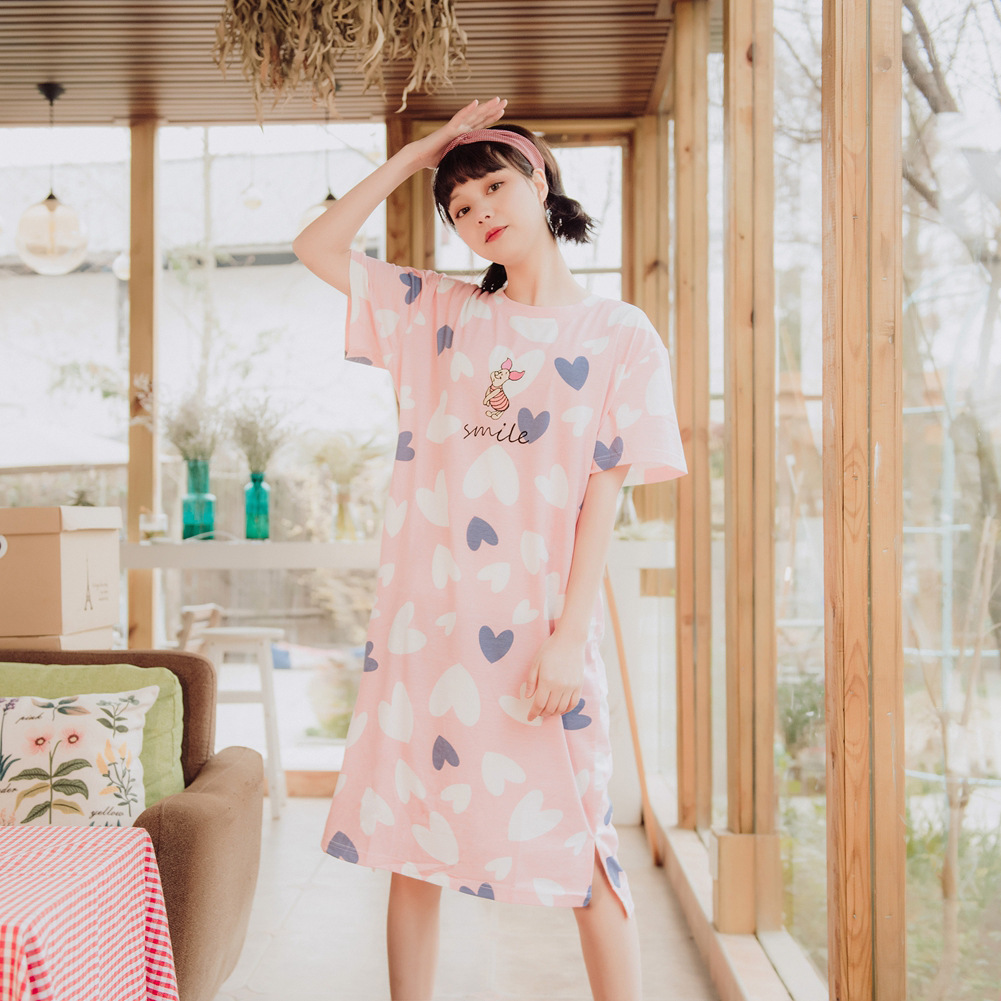 New Style Nightgown Women's Summer Pure Cotton Hipster Loose And Plus-sized Cute Women's Outer Wear Pajamas Dress Home Wear