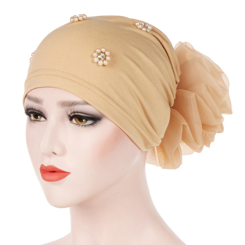Muslim Women Faux Pearl Flower Hat Hijab Hair Loss Head Scarf Turban Cancer Chemo Beanie Scarf Fitted Adult Wrap Caps Gifts