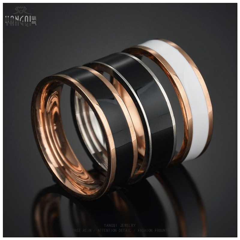 Nova moda ouro rosa aço inoxidável anéis de casamento feminino branco preto esmalte anel do amante do punk jewlery men bague