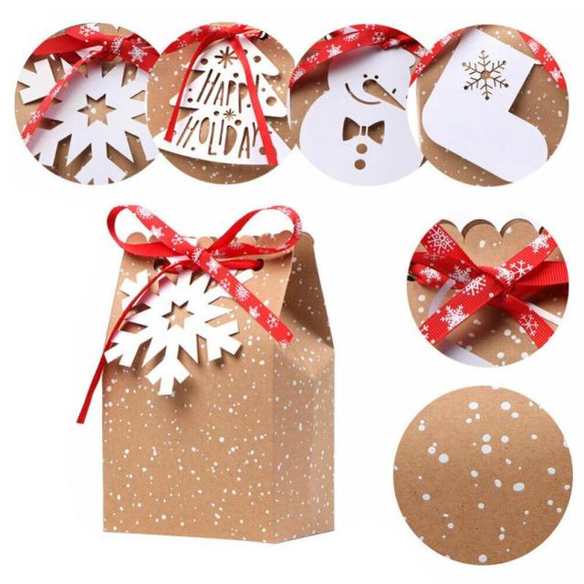 24pcs Christmas Gift Bags Candy Box Christmas Socks Kraft Paper Bag Christmas Decor Home Party Favor Box Snowflake Paper Bags 1