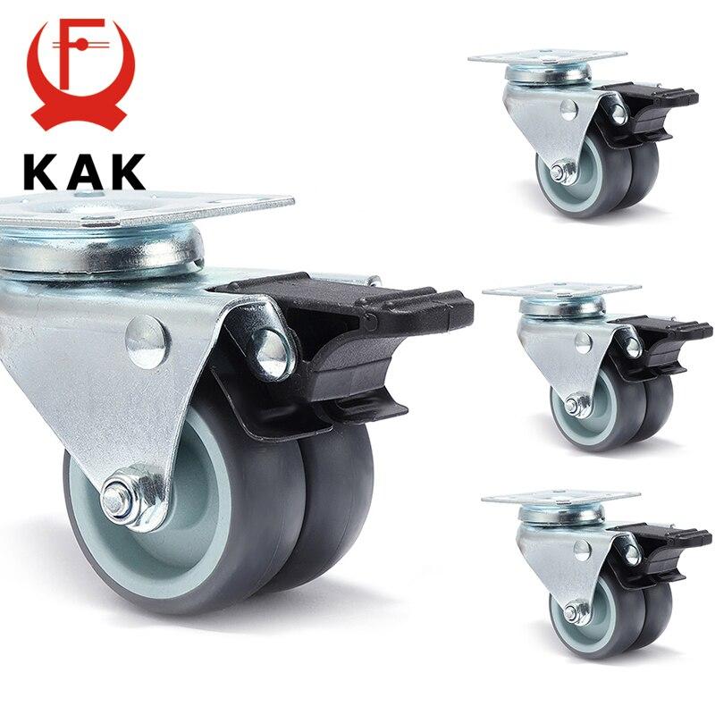 4 шт. как поворотный Mute колеса замена 2 дюйма 60 кг мягкой резины безопасный мебели ролика колеса для тележки для обеденного стола