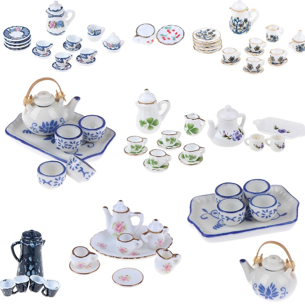 15/8/9/4/2Pcs 1:12 Dolls House Miniature Mugs Dish Cups Pot Set Direction Furniture Toys Coffee Tea Cups Dollhouse Accessory