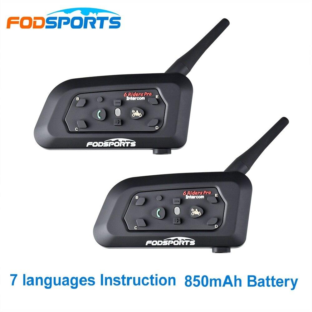 Fodsports 2 pcs V6 Pro Capacete Da Motocicleta Bluetooth Headset Intercom 6 Pilotos 1200M BT Interfone Intercomunicador Sem Fio