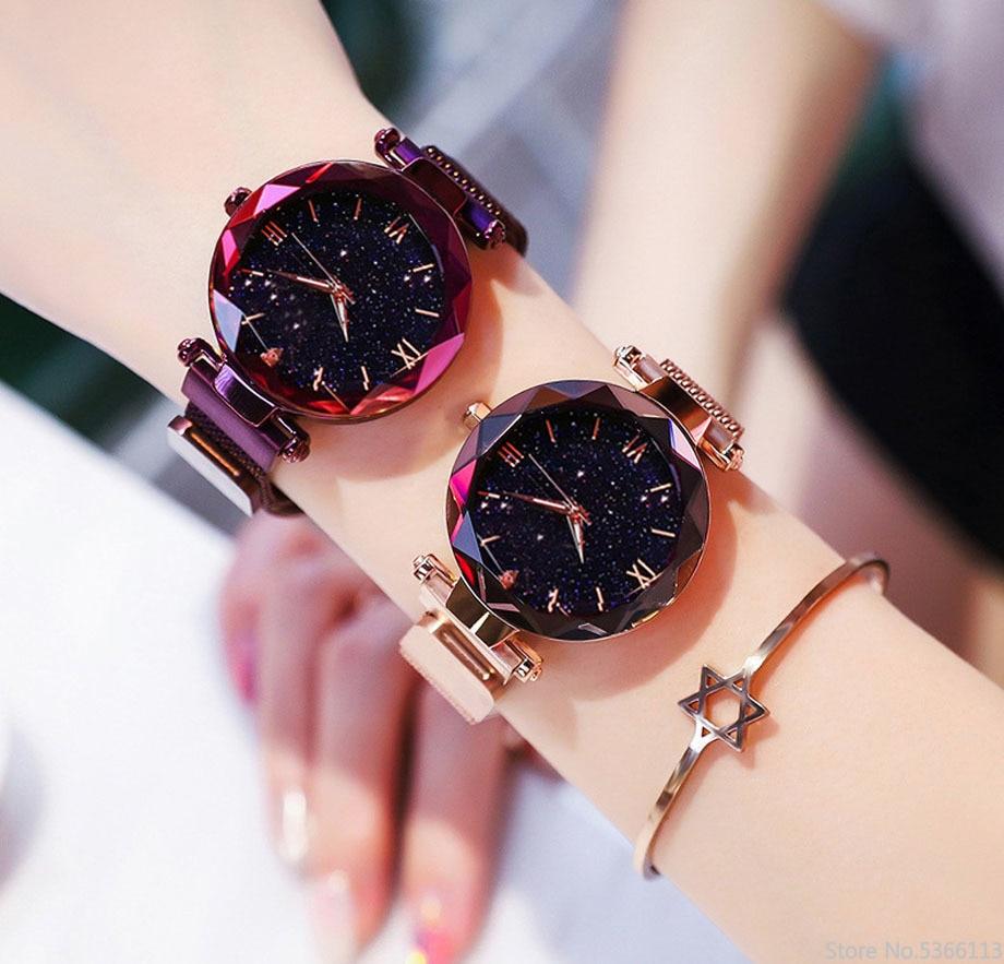 Luxury Women Watches Fashion Elegant Magnet Buckle Vibrato Purple Ladies Wristwatch 2019 New Starry Sky Roman