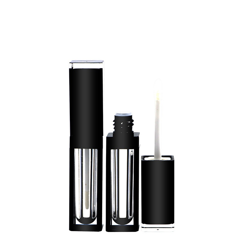 4ml Square Clear Lip Gloss Tube ABS Lip Glaze Bottle Black Lid Empty Lipgloss Container 10/25/50pcs