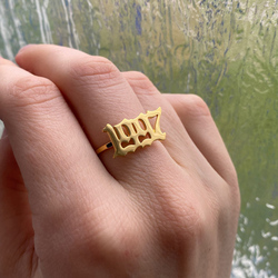 Stainless Steel Birth Year Gold Ring Goth Number Rings For Women Men Anillo Femme 1995 1996 1997 1998 1999 Bague Wedding Jewelry