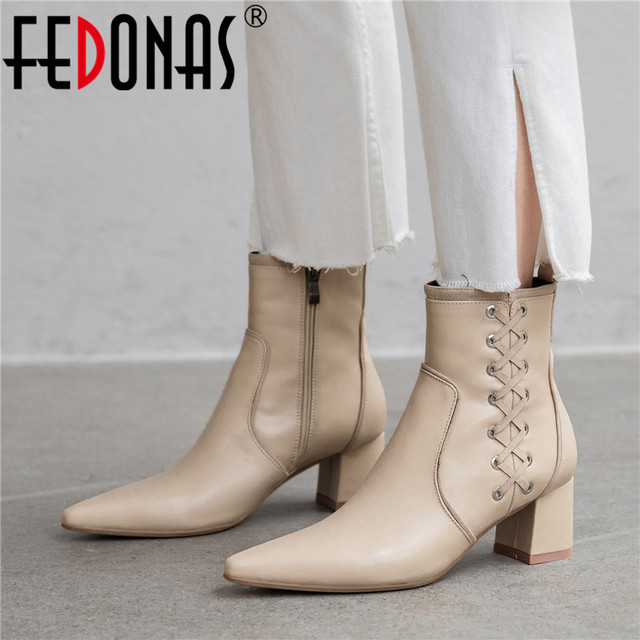 FEDONAS Quality Genuine Leather Women Ankle Boots Classic Pointed Toe Chelsea Boots Party Shoes Woman Elegant Office Prom Shoes