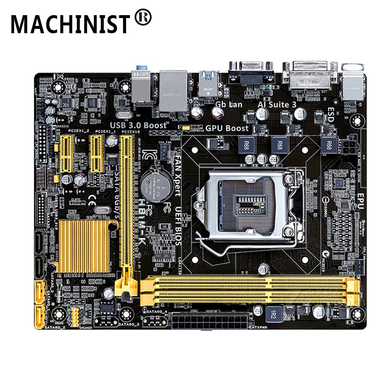 For ASUS H81M-K Desktop motherboard Intel H81 LGA 1150 Micro ATX DDR3 16GB SATA3.0 USB2.0 100% fully Tested Free shipping 5