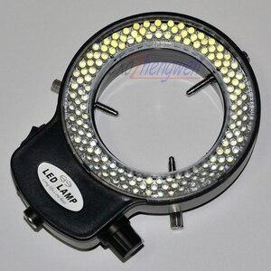 Image 4 - FYSCOPE ayarlanabilir 144 LED halka ışık aydınlatıcı lamba sanayi için Stereo mikroskop ile 110V 240V AC güç büyüteç adaptörü