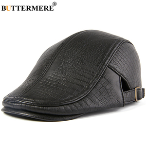 Image 3 - BUTTERMERE Men Beret Hat Real Leather Flat Cap Sheepskin Autumn Winter Male Brown Adjustable High Quality Gatsby Mens Beret Caps