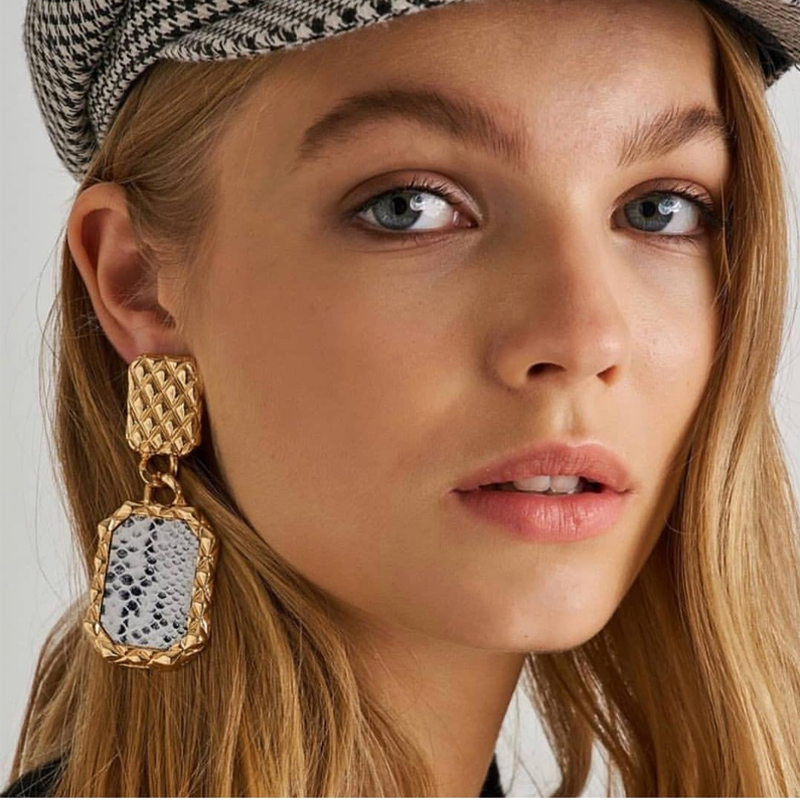 Fashion Snake Skin Print Drop Earrings For Women 2019 New Vintage Statement Punk Geometric Charm Luxurious Gift Party Wholesale