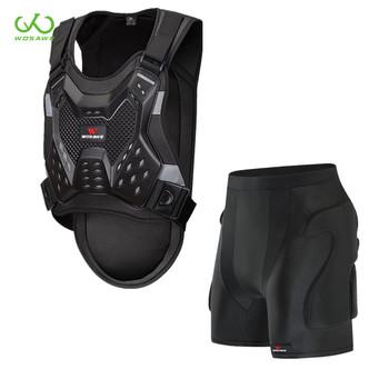 WOSAWE kamizelki kurtki dla dorosłych Motocross Armor miękkie elastyczne spodenki ochronne zestaw Hip Butt Chest ochrona tyłu zestawy motocyklowe tanie i dobre opinie ML216-ML102 black Free Size S M L XL