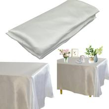 Satin Tablecloth Cover Dining-Table Wedding Birthday Banquet Rectangle Christmas Home