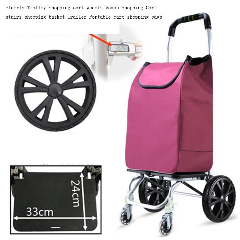 Ältere Trolley warenkorb 6 Räder Frau Warenkorb für treppen warenkorb Anhänger Tragbare warenkorb Große einkaufstaschen - 2