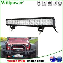 Combo Beam 20inch 126W LED Work Light Bar For Jeep JK Wrangler 4x4 Offroad SUV Truck 4WD Pickup Bumper Driving Lamp