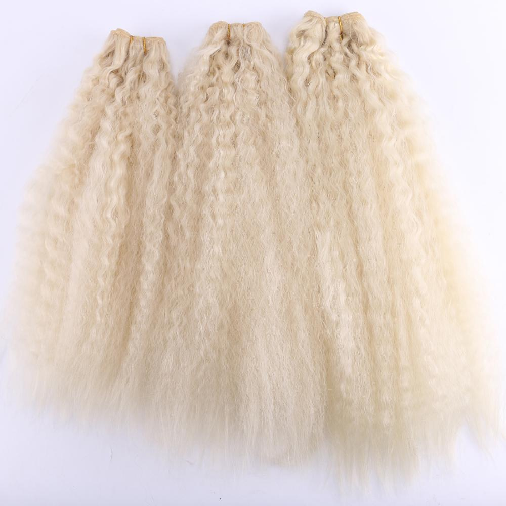2pcs/lot color 613 Kinky Straight Hair weave high temperature Synthetic hair extensions image