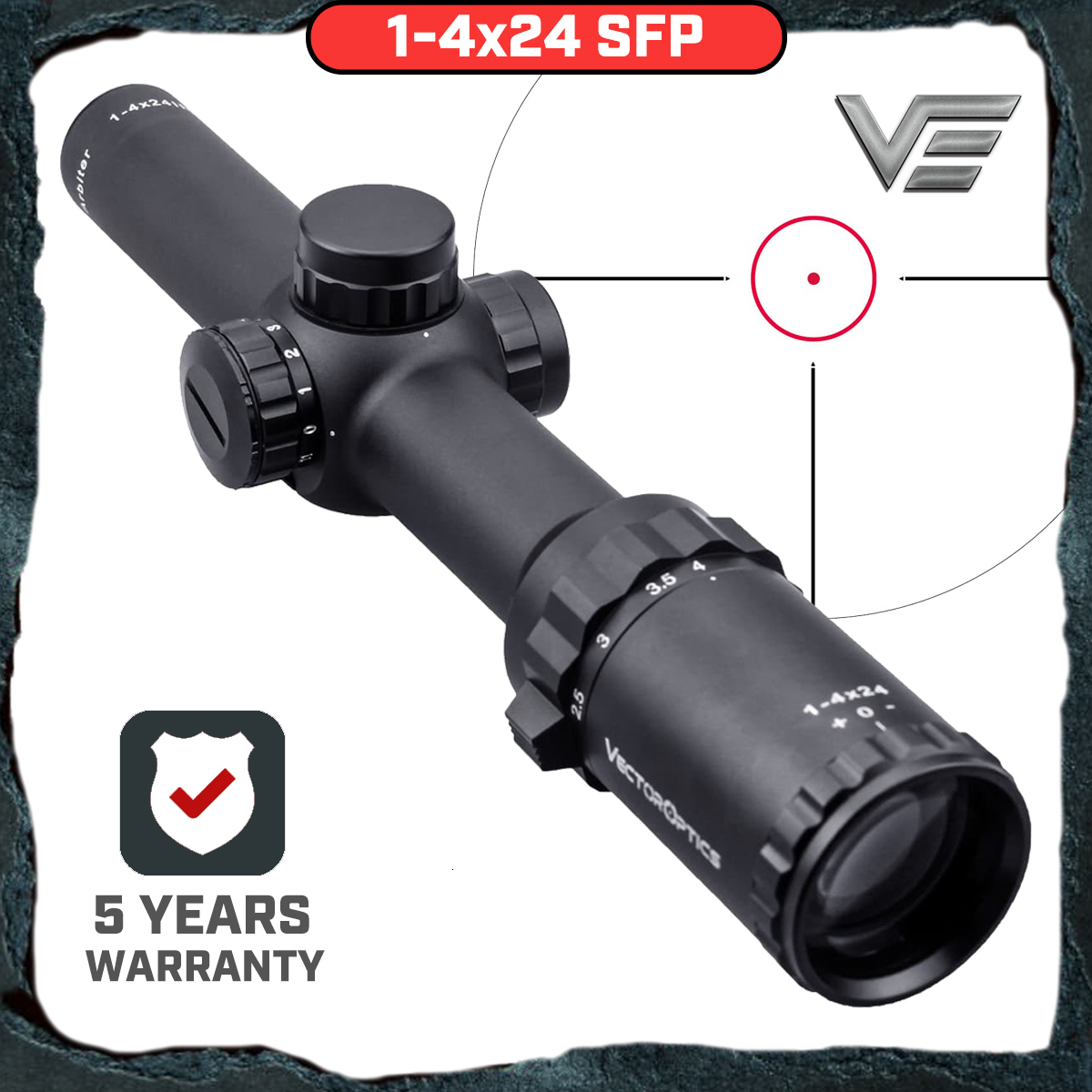 Vector Optics Arbiter 1-4x24 Hunting Riflescope Long Eye Relief Illuminated Red Telescopic Sight Scope Fit 30-06 308 AR15 M4
