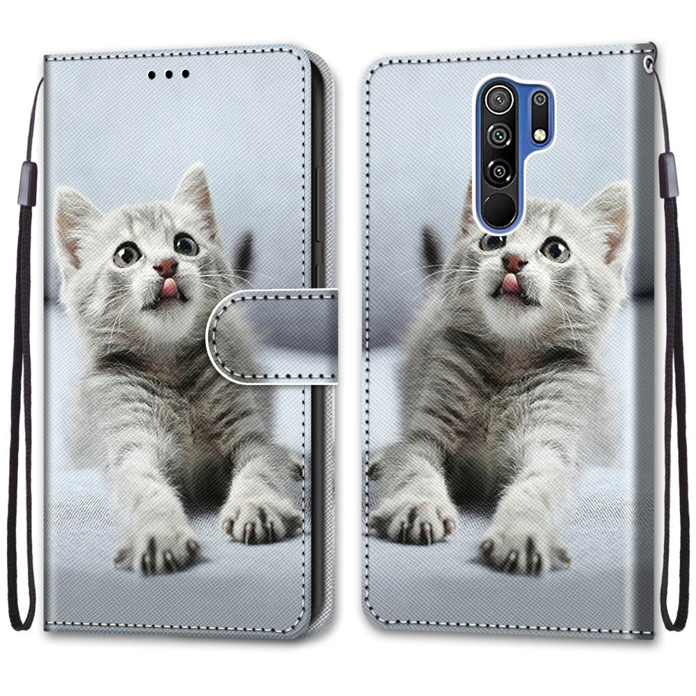 Flip Leather Phone Case For Redmi Note 9T 9 9S Pro 9A 9C Fundas Wallet Card Holder Stand Book Cover Cat Dog Painted Coque Capa