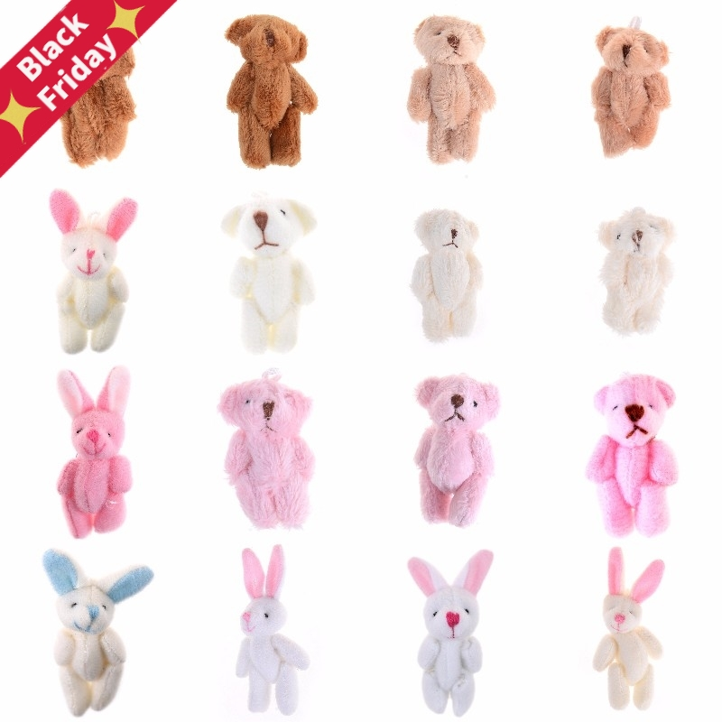 3.5/4/4.5/6/8cm Soft Plush Bunny Bear Mini Joint Rabbit Bear Pendant For Key Chain Bouquet Toy Doll DIY Ornaments Gifts