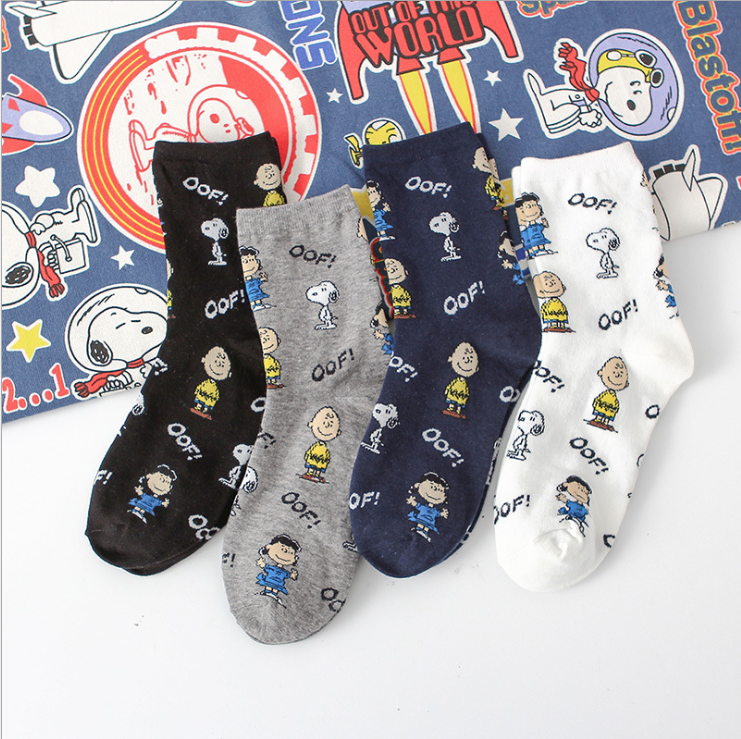 Creative Cartoon Women Socks Casual Harajuku Lovely Snoopy Funny Sock Cotton Breathable Cotton College Style