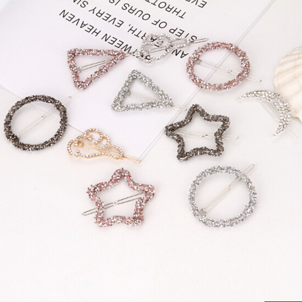 1PC Crystal Rhinestones Hair Clips Star Triangle Round Shape Women Snap Barrettes Bobby Pin Hairgrips Headdress Hair Accessories