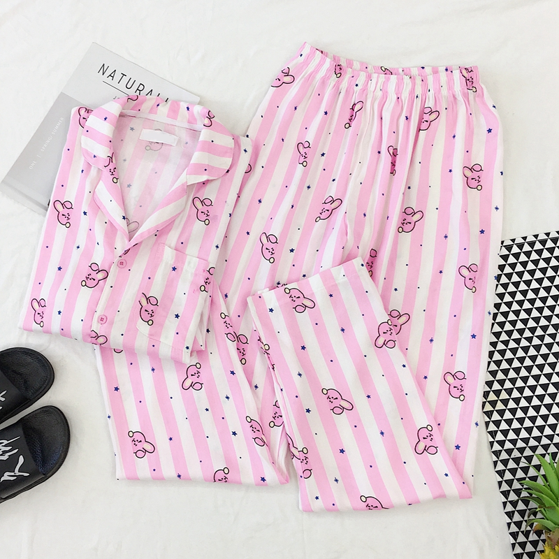 Pajamas Female Rabbit Printed Kawaii Cute Kpop Shirt And Pants Sets Cotton Cartoon Pyjamas Women Sleepwear Suits