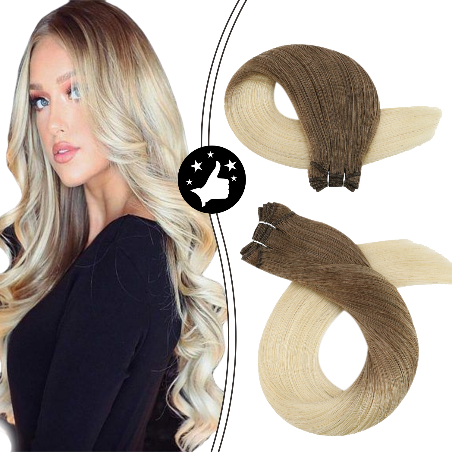 Weave Human Hair Bundles 100g Straight Brazilian Machine Remy Hair Brown Ombre Blonde Two Tone Color Natural Sew in Extensions