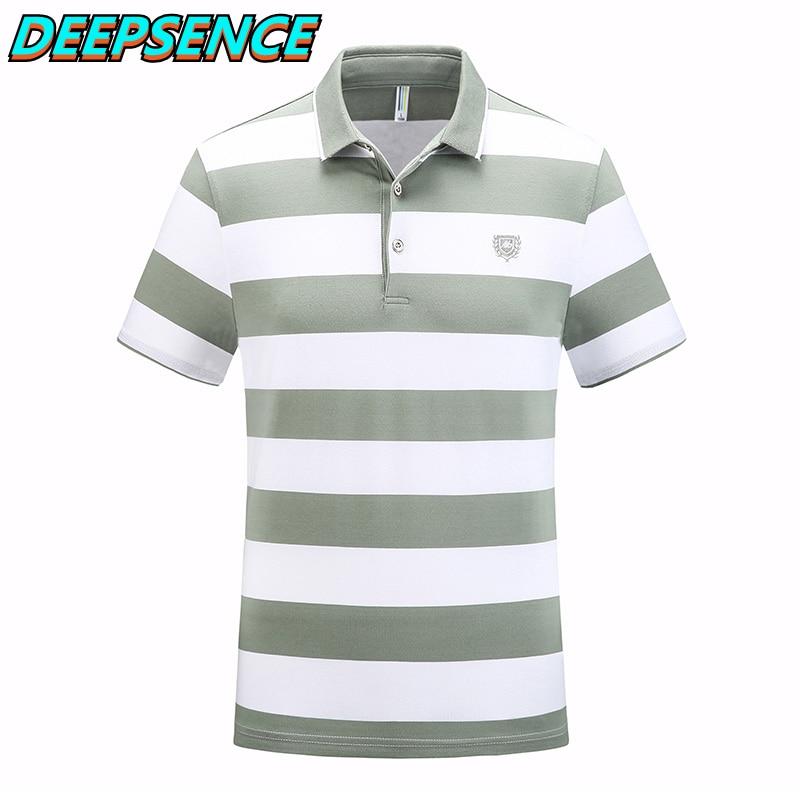 Мужские 2021 Новая летняя Модная рубашка-поло для мужчин, на каждый день или на выход; Для офиса с длинным рукавом в Вертикальную Полоску из ды...