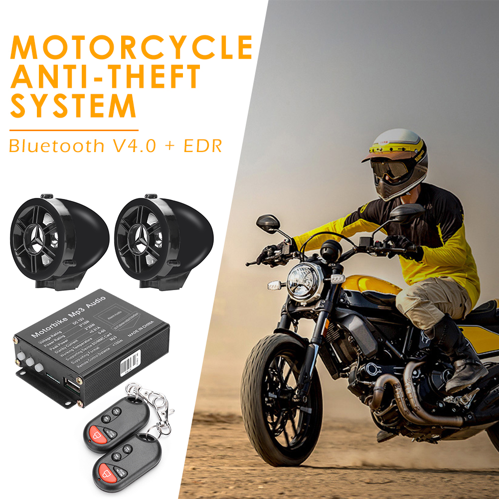 Remote Control Motorcycle Alarm System MP3 FM Radio Ordinary Layout Operation Conveninently Bluetooth Speaker Amplifier
