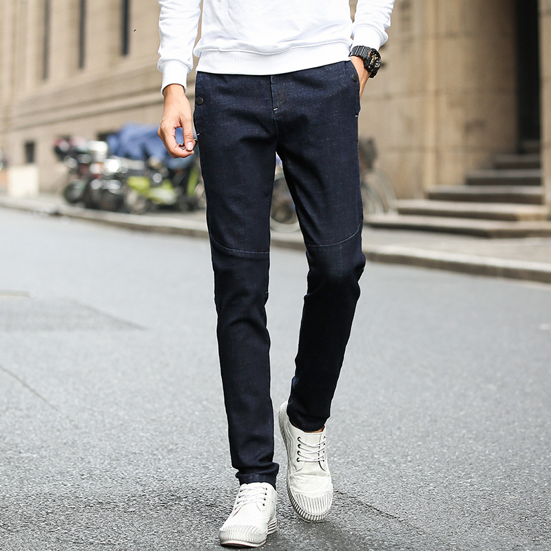 New Products MEN'S Jeans Korean-style Slim Fit Youth Elasticity Joint Straight-Cut MEN'S Casual Trousers Comfortable Trend Pants