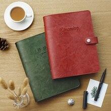 Agenda 2019 cubierta de cuero Retro Vintage cuaderno de negocios de hoja suelta papel reemplazable Bloc de notas viajero suministros de papelería