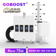 GOBOOST Four Band LTE 800 900 1800 2100 cellular amplifier signal booster gsm 2g 3g 4g repeater mobile phones 850 3g LTE 2600 4G