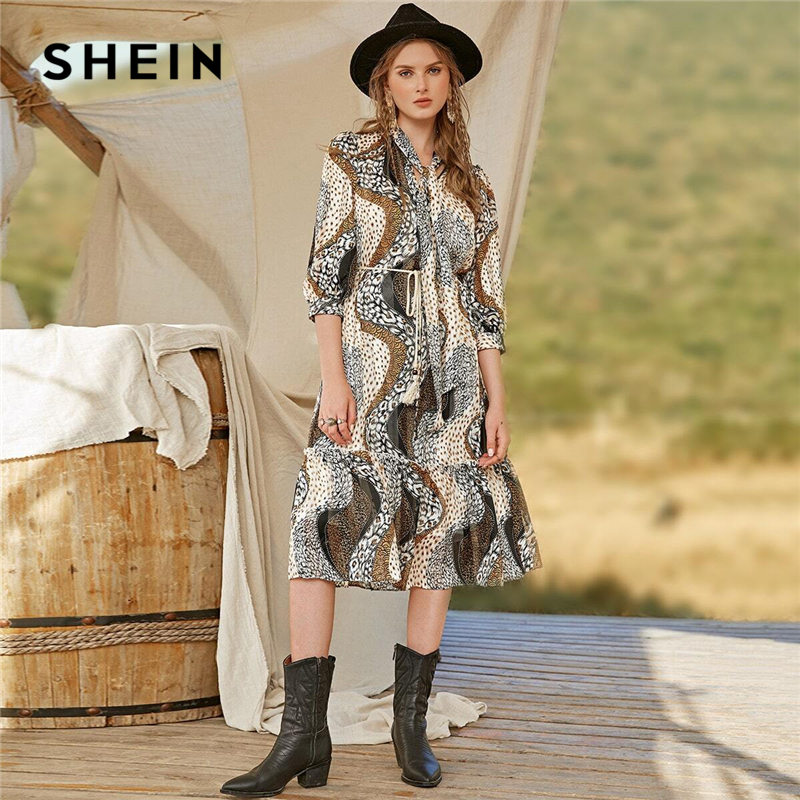 SHEIN Multicolor Tie Neck Ruffle Hem Allover Print Belted Dress Women 2020 Spring Bishop Sleeve A Line Bohemian Long Dresses 1