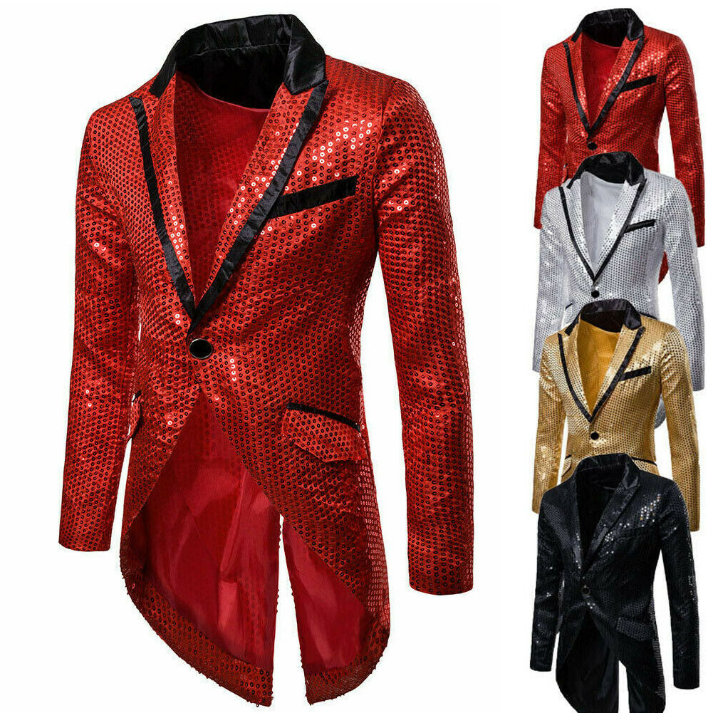2019 New Men's Casual Slim Fit Formal One Button Suit Blazer Coat Jacket Party Men Blazer Full Dress Perform Costume Swallowtail