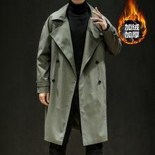 Wysokiej jakości trencz mężczyźni dwurzędowy długi płaszcz mężczyzna jesień płaszcz trencz styl japoński jednolity kolor długi wiatrówka tanie tanio WICCON CN (pochodzenie) NONE COTTON Smart Casual Stałe long Skręcić w dół kołnierz Konwencjonalne ZELA5306 Podwójne piersi