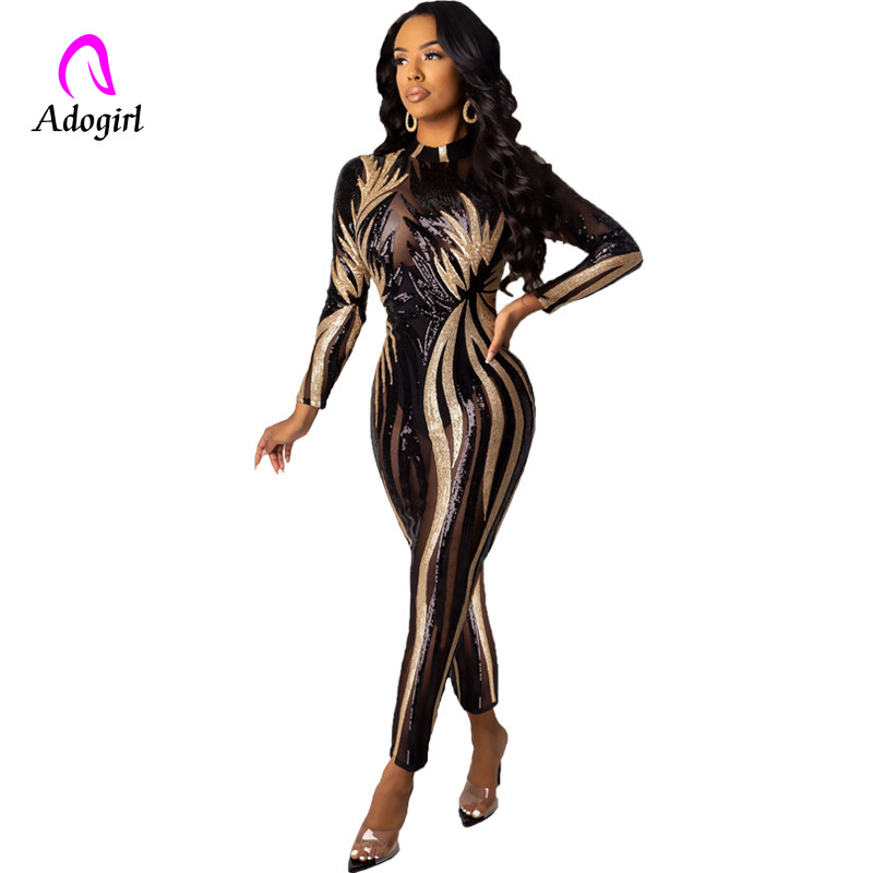 Sexy Bandage Sequins  Jumpsuit Women Long Sleeve  Bodycon Romper Autumn Winter Party Clubwear Glitter Playsuits