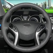 цена на Black Leather Hand -stitched Car Steering Wheel Cover for Hyundai Elantra Avante