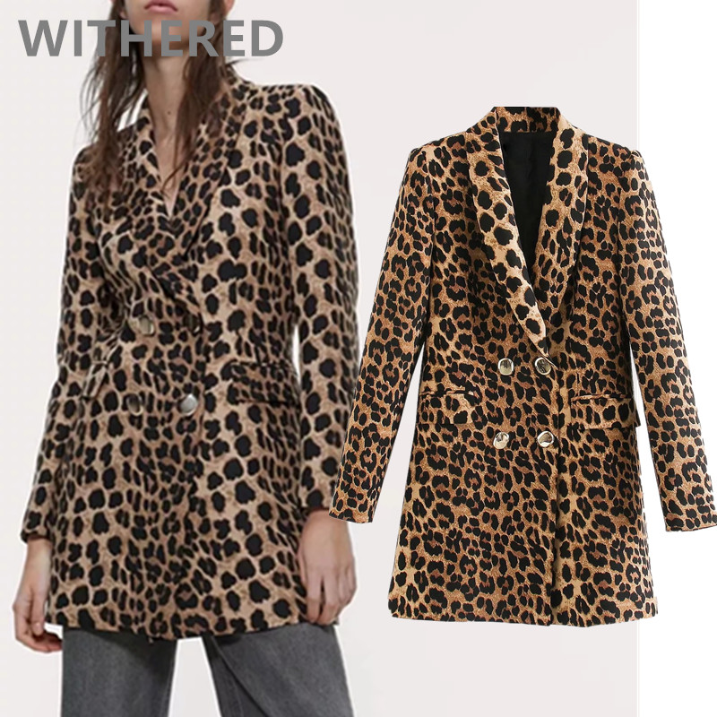 Withered 2020 Spring England Vintage High Street Leopard Print Double Breasted Blazers Notched Jacket Women Blazers 2 Pieces Set