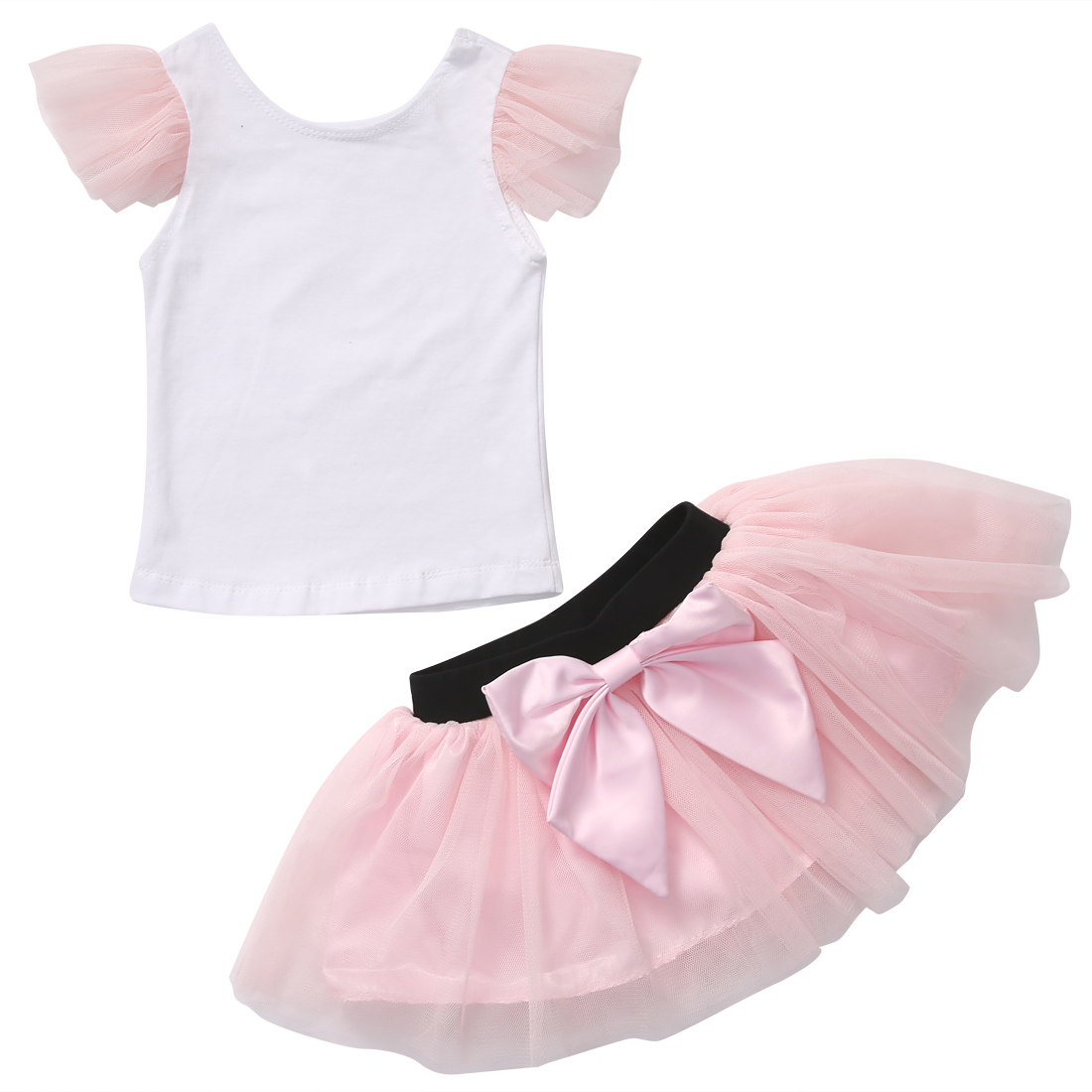 Pink Formal 2Pcs Matching Mother And Daughter Casual Summer T-shirt Skirt Tulle Skirt Outfit
