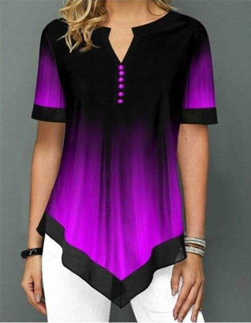 Womens Summer Fashion Printed Blouses Casual Short Sleeved Button Chiffon Shirt Women Plus Size Irregular Loose Shirt Tops 2