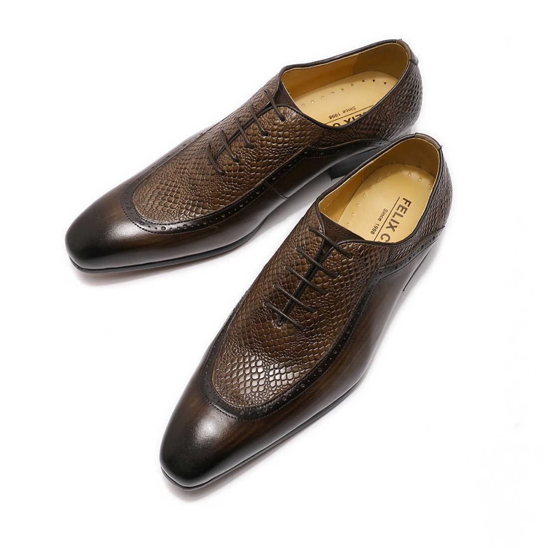 2019 kış ayakkabı hakiki deri erkek resmi ayakkabı sivri burun Lace Up iş Oxford ayakkabı siyah kahverengi lüks ayakkabı