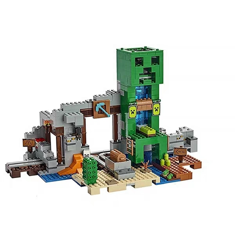 2019 My World Compatible with Legoing Minecing 21155 Crawl By Mine Hole Treasure Hunt Building Blocks Toys for Children Gift