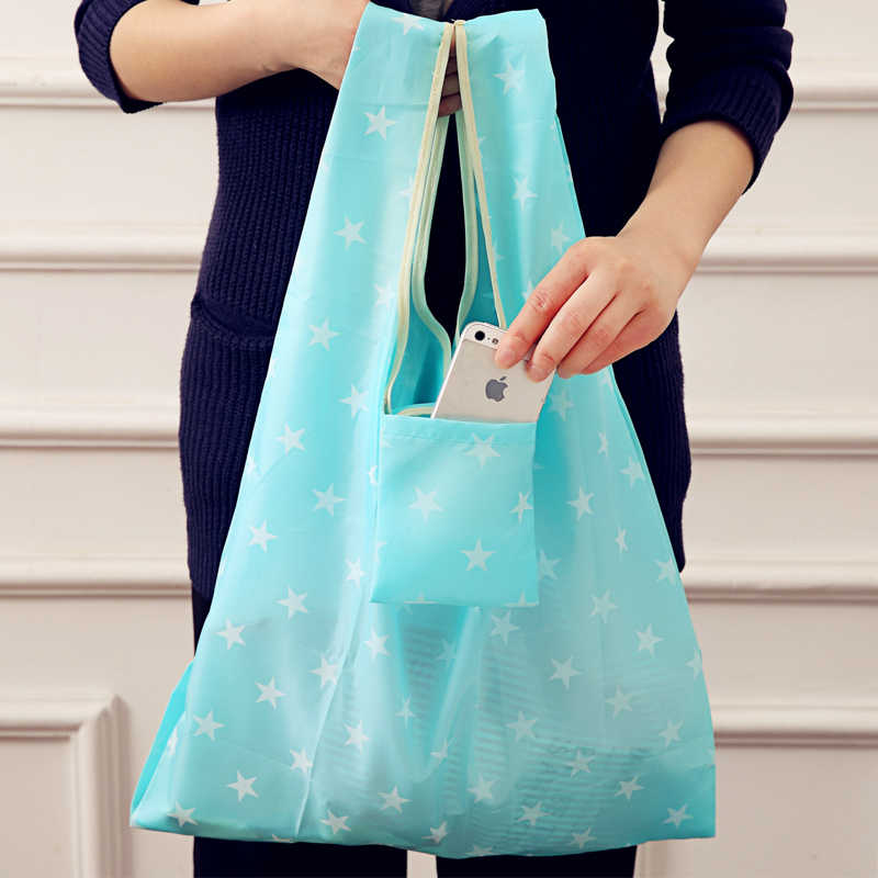 Fashion Printing Foldable Eco-friendly Shopping Bag Tote Pouch Handbags Convenient Large-capacity Reusable Canvas Storage Bags