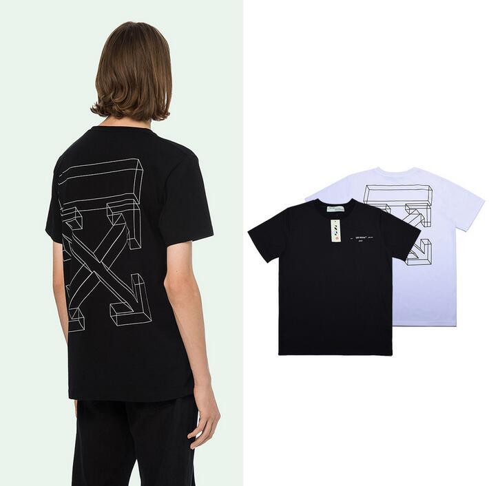 3D стрелы эскиз 18SS Off White OW мужские и женские парные модели влюбленных модные свободные хлопковые повседневные футболки с круглым вырезом и к