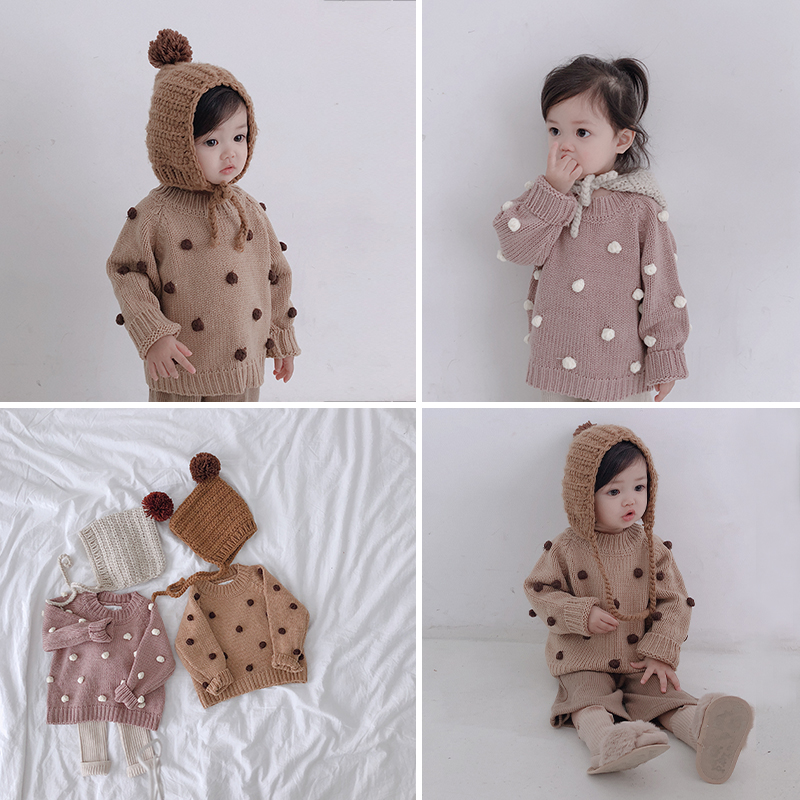 Image 2 - Girls' autumn winter pullover sweaters toddler baby clothing litttle 3D balls  long sleeved babies sweaters kids knitwear 1 5T-in Sweaters from Mother & Kids