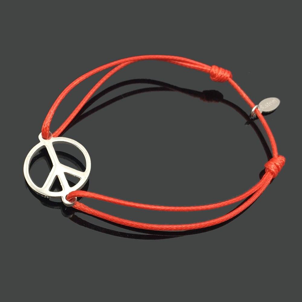 2 шт браслет желаний из нержавеющей стали, регулируемый шнур, хороший браслет, приносящий удачу, красный браслет дружбы - Окраска металла: stainless peace